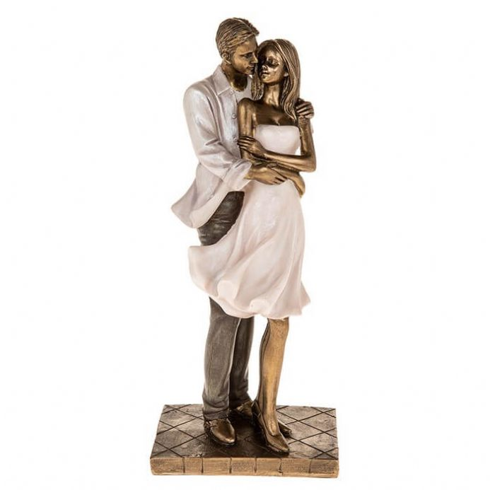 Amore Couple Standing Embrace Figurine